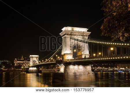 The famous Chain Bridge in budapest Hungary at night time