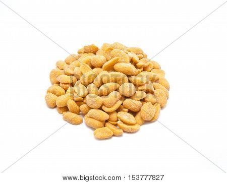 Fried and salted peanut on white background