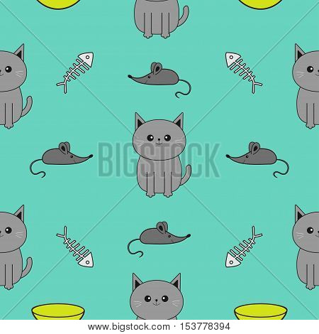 Cute gray cartoon cat. Bowl fish bone mouse toy. Funny smiling character. Contour Isolated. Seamless Pattern Blue background. Flat design. Vector illustration.