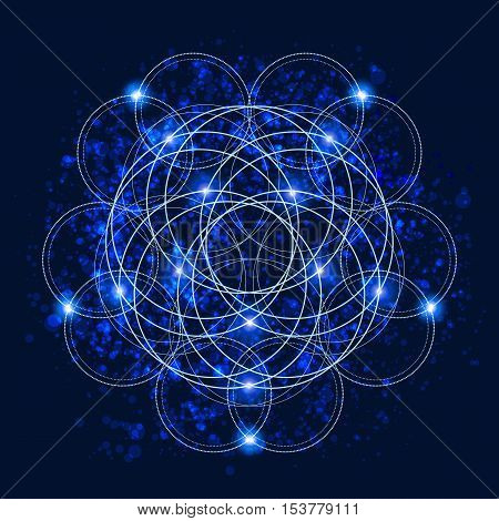 Abstract background with consecrated symbols of sacred geometry outer space and luminous stars. Vector illustration