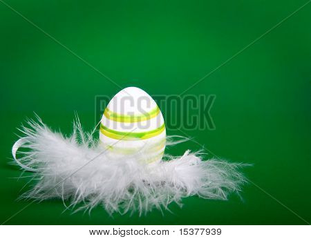 easter egg in white feathers nest