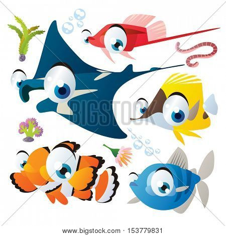 cute vector flat style illustration of sea life animals and fish. Funny collection set of guppy, manta ray, clown fish, butterfly fish