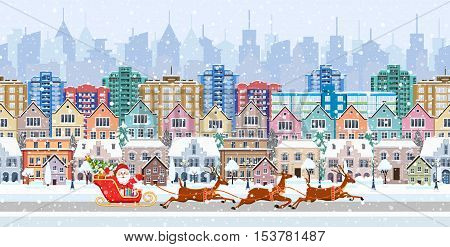 Christmas Santa Claus riding on sleigh with Christmas Reindeer on winter city street. seamless border panorama with a winter cityscape. vector illustration