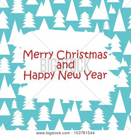 Christmas And New Year Pattern With White Trees On A Blue Background