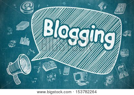 Blogging on Speech Bubble. Cartoon Illustration of Screaming Megaphone. Advertising Concept. Shrieking Megaphone with Inscription Blogging on Speech Bubble. Doodle Illustration. Business Concept.