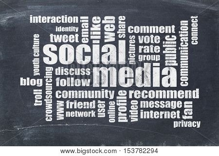 Social media and networking concept - word cloud on a slate blackboard