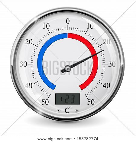 Thermometer. Round outdoor temperature gauge. Warm weather. Vector illustration isolated on white background