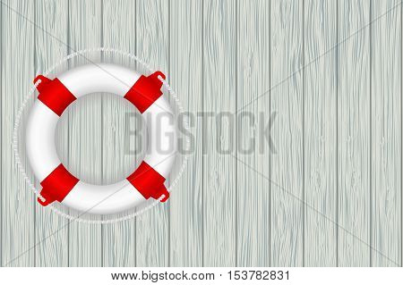 Lifebuoy on wooden wall background. Vector illustration