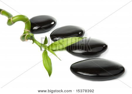 Black Spa Stones And Bamboo Isolated