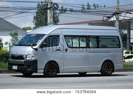 CHIANGMAI THAILAND - OCTOBER 8 2016: Private Toyota commuter van. Photo at road no.121 about 8 km from downtown Chiangmai thailand.