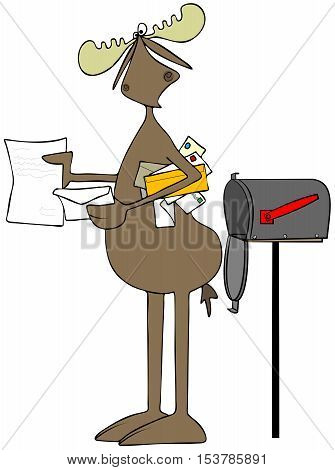 Illustration of a bull moose opening a letter from the mailbox and with more items tucked beneath his arm.