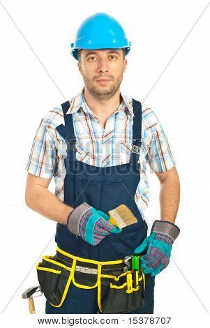 Worker Man Holding Paint Brush