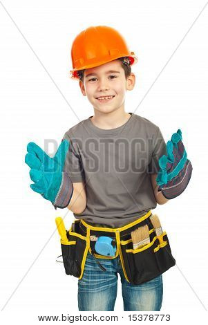Happy Kid Boy  Wearing Big Gloves