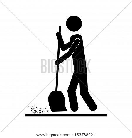person with broom icon image vector illustration design