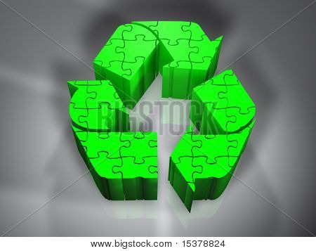 Recycling symbol - Puzzle - 3D