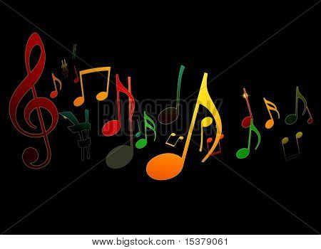Dancing Music Notes On Black Background