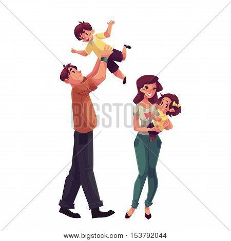Father, mother, daughter and son, cartoon vector illustrations isolated on white background. Dad throwing his little son up and mom holding daughter in her hands, happy family concept
