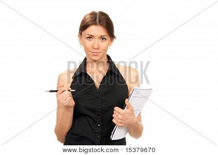 Girl Student Stand, Hold Pen And Textbook In Hand