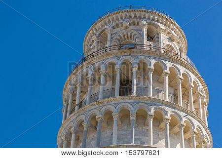 PISA, ITALY - SEPTEMBER 2016 : Tele zoom of Leaning Tower, closeup top part of famous Pisa (Torre pendente di Pisa), freestanding bell tower campanile of cathedral in Pisa, Italy on September 22, 2016