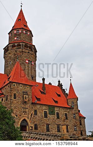 Landscape view of Bouzov castle. Czech Republic
