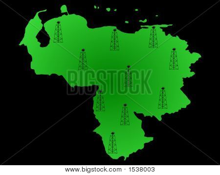Map Of Venezuela And Oil Derricks Illustration