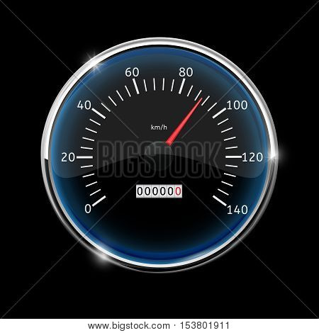 Speedometer. Round speed gauge with 90 km speed indication. On black background. Vector illustration