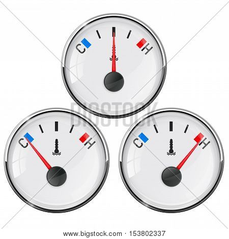 Temperature gauge. Car thermometer. Cold normal hot. Vector illustration isolated on white background