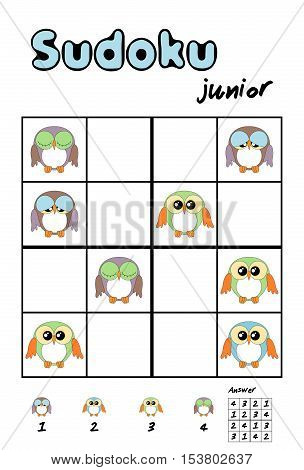 Picture sudoku with cute owls for children education. Answer included