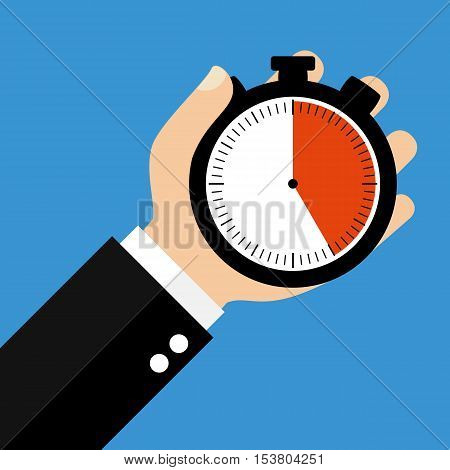 Hand holding Stopwatch showing 25 Seconds 25 Minutes or 5 Hours - Flat Design