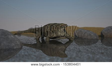 3d illustration of the cotylorhynchus on shore