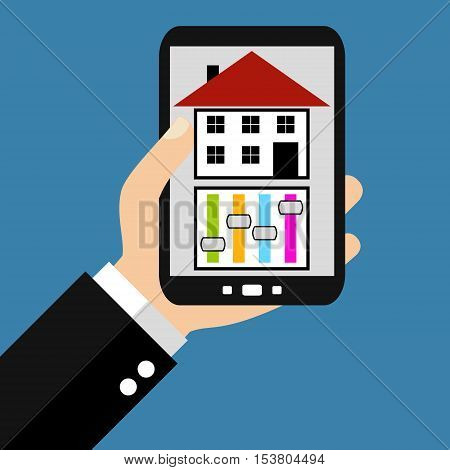 Hand holding Smartphone: House Control - Flat Design