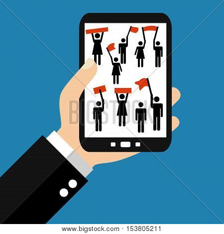 Hand holding Smartphone: Protesters - Flat Design