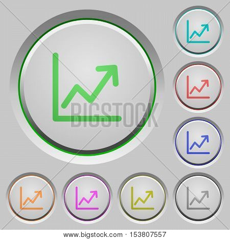 Line graph color icons on sunk push buttons