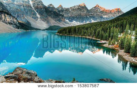 Moraine lake panorama in Banff National Park, Alberta, Canada