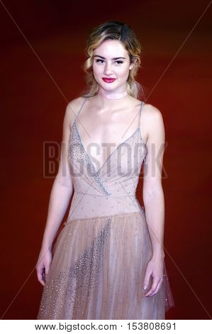 Rome Italy - October 16 2016: Actress Grace Van Patten on the red carpet of the 11th edition of the Rome Film Festival to present the film 'Tramps'.