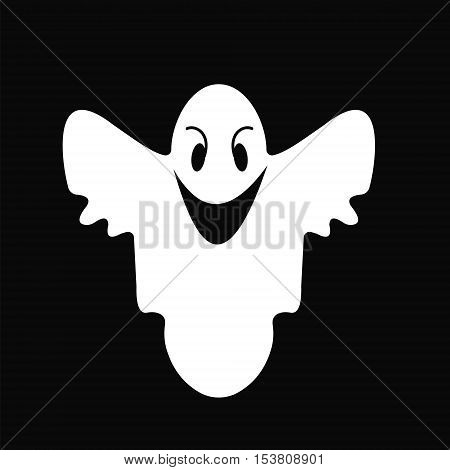 Ghost of a smile cheerful white Ghost on a black background for Halloween vector