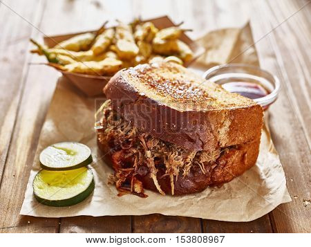 barbecue pulled pork sandwich with fried okra