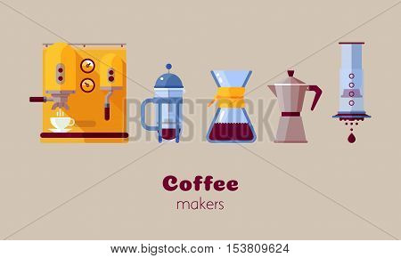 Coffee maker vector trend flat design style icons set for coffee shop menu booklet website. Vector isolated illustration