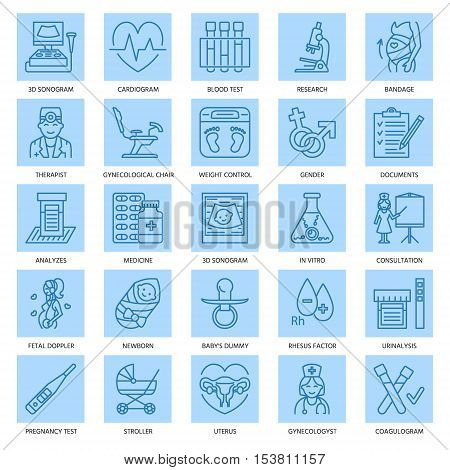 Modern vector line icon of pregnancy and obstetrics. Gynecology elements - chair tests doctors sonogram baby gadgets. Linear icons with aditable stroke.