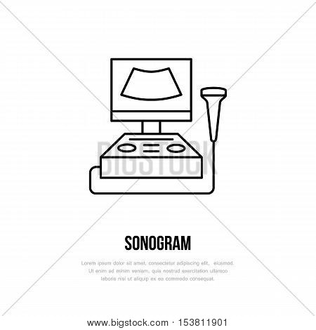 Modern vector line icon of sonogram. Gynecology clinic linear logo. Outline symbol for polyclinics. Obstetrics design element for sites hospitals. Medical business logotype ultrasound sign.