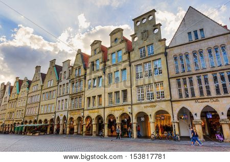 Old Buildings At The Prinzipalmarkt In Muenster, Germany