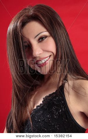 Smiling Woman Long Lustrous Hair