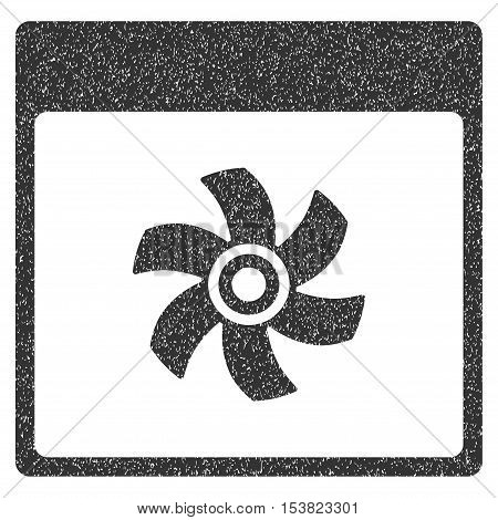 Fan Calendar Page grainy textured icon for overlay watermark stamps. Flat symbol with unclean texture. Dotted vector gray ink rubber seal stamp with grunge design on a white background.