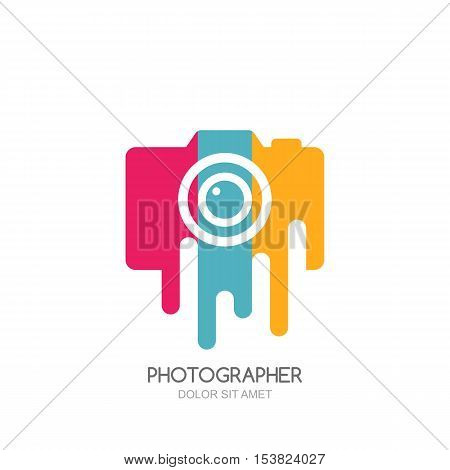 Vector Logo, Label, Emblem Design Template. Isolated Digital Photo Camera With Colorful Stripes.