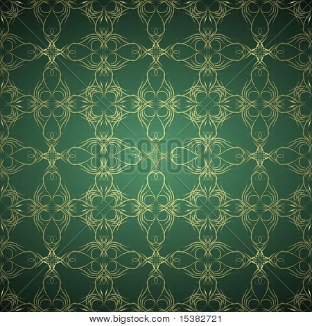 Ornamental green and gold background