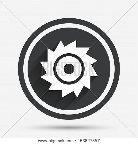 Saw circular wheel sign icon. Cutting blade symbol. Circle flat button with shadow and border. Vector