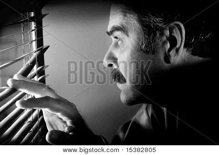 Man Looking Through Window Jalousies