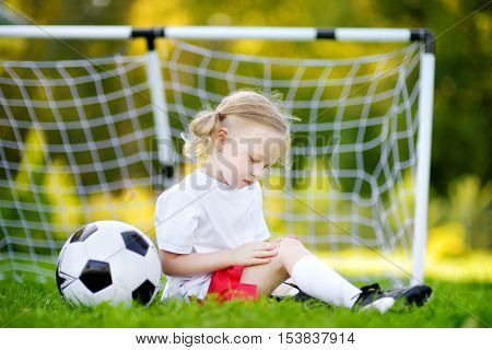 Cute Little Soccer Player Hurt Her Knee While Defending A Goal
