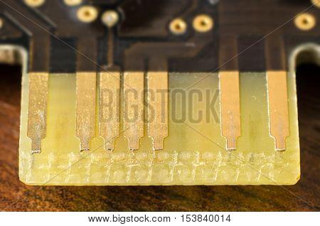 a part of a microchip macro closeup