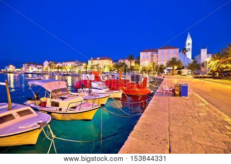 Bol on Brac island colorful evening view harbor and seafront at dusk Dalmatia Croatia